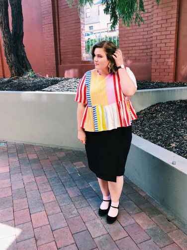Gorman Stripe Top + Atmos&Here Curvy Marie Wrap Pencil Skirt