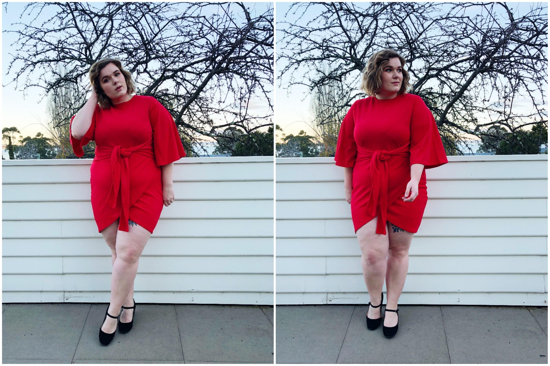 Plus Kimono Sleeve Tie Waist Wrap Dress (20) BLOG